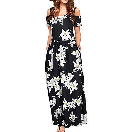 Ansenesna Kleid Blumen Damen Lang Sommer Elegant Maxi Sommerkleid Frauen Kurzarm Maxikleid Leichte Sommerkleider mit Taschen