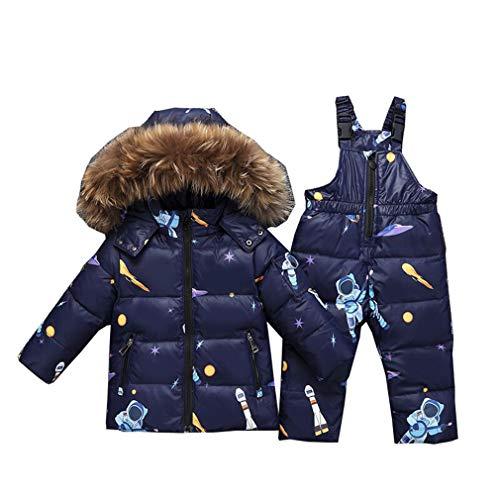 Baby Daunenjacke Bekleidungsset Jungen Mädchen Winter Kapuze Pelzkragen Daunenjacke Daunenhose 2tlg Verdickte Schneeanzug Winterjacke/90-120cm