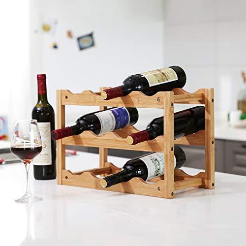 Wijnrek van bamboe hout voor 12 flessen wijn - Design wijnflessenrek/flessenrek met 3 lagen - Decopatent