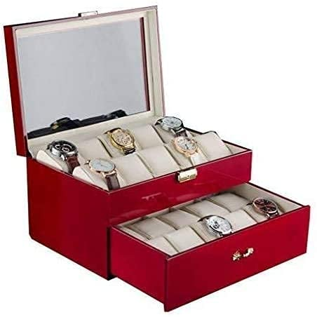 AMAFS Caja de Reloj Reloj de Mujer Caja de Regalo Caja de Almacenamiento de Reloj con Tapa de Cristal y Almohadas Moda Happy House