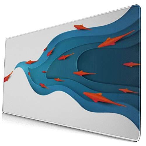 HUAYEXI Alfombrilla Gaming,Pez Koi en el Agua Origami Moderno Día Mundial del Medio Ambiente Animales Vida Silvestre,con Base de Goma Antideslizante,750×400×3mm