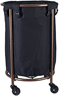 Household Essentials Round Laundry Hamper with Wheels, Copper, Black
