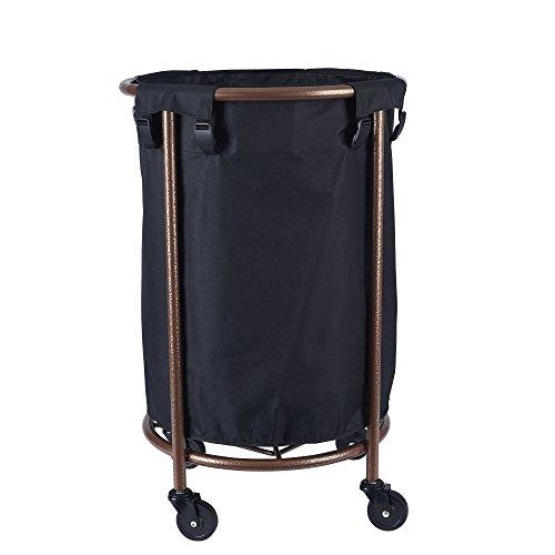 Household Essentials - Cesto redondo para ropa sucia con ruedas, cobre, color negro