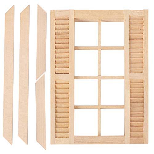 STOBOK Puppenhaus Fenster Holz Mini Unbemalte Fensterrahmen DIY Miniatur Möbel Modell Spielzeug 1:12 Puppenhaus Schlafzimmer Wohnzimmer Zubehör Mikrolandschaft Dekoration