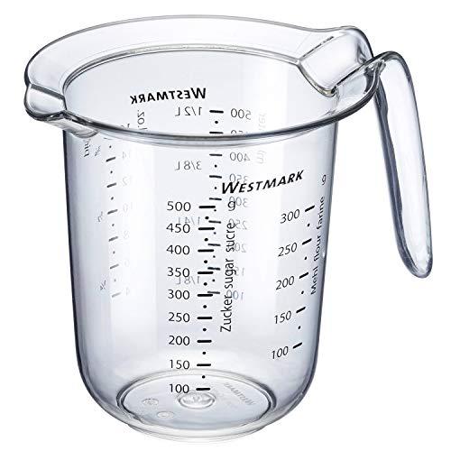 Westmark Messkanne, Mehrsprachige Messskalen und verschiedenen Maßeinheiten, Füllvolumen: 0,5 l, Kunststoff, Transparent, 30642270