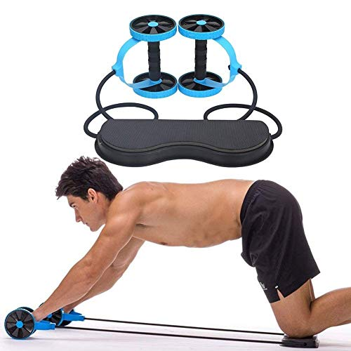 AFITNESS Resistance Bands Sport Core Double ab Roller Bauchtrainer mit Widerstand Band Pull Seil Fitness Taille Trimmer Home Studio Equipment Yoga Pilates (Farbe : Blau)