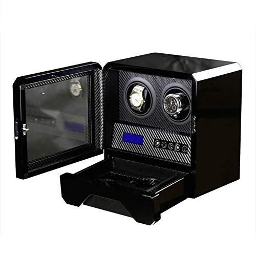 2 + 2 Reloj de Madera automático Mando a Distancia Mando a Distancia LCD Táctil de rotación Rotores de Bobina Premium Silent Motor Pine Box, Luz Ambiental LED con Cerradura de cajón