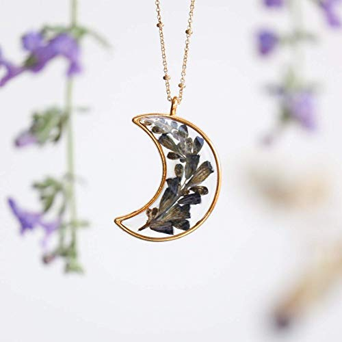 Pressed Flower Necklace Lavender, Large Crescent Moon Necklace, Pressed Purple Flower Necklace, Gold-Plated 20'