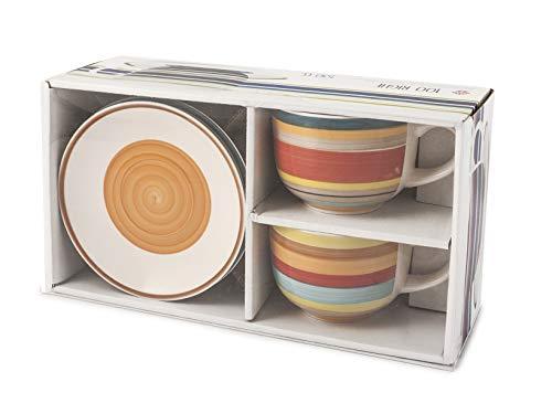 Home 731327 100 Righe Set 2 Tazze Jumbo, con Piattino, Stoneware, cc530