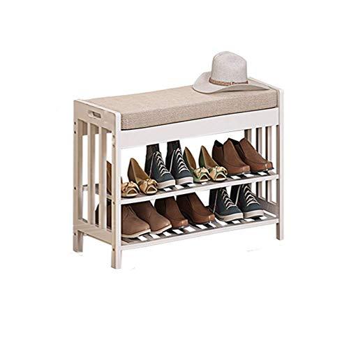 XHNXHN Zapatero de bambú, organización de Almacenamiento en el hogar Zapatero Cambie el Taburete para Zapatos Cojín Estantes de Madera Zapatero Bench-A 60X29X49cm
