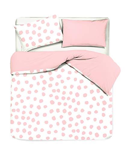 Novilunio - Juego de funda nórdica con fundas de almohada reversibles y estampado digital, 100 % algodón, fabricado en Italia, individual Dot Maxi Rosa