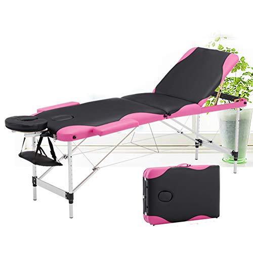 FJLOVE Table de Massage Lit Pliante 3-Section Aluminium Professionnel Portable Ergonomique Table...