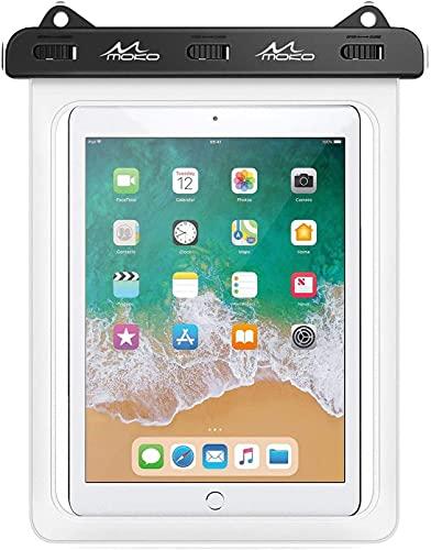 MoKo Funda Impermeable de Tablet, IPX8 Bolsa Protectora Estanca Universal para iPad Air 4/3/2, iPad Pro 11 2020, iPad 8/7/6, Galaxy Tab S7/S6/S4/S3/Tab A7 2020/Tab E, Fire HD 10 hasta 12',Claro