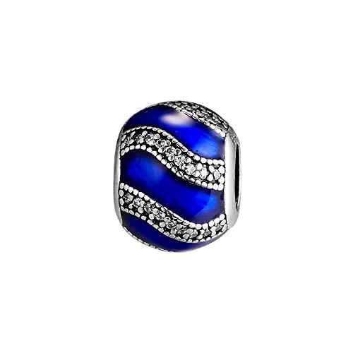 LIIHVYI Pandora Charms para Mujeres Cuentas Plata De Ley 925 Joyas De Adorno Azul Real Compatible con Pulseras Europeos Collars