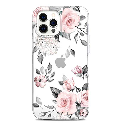 RXKEJI Clear Case Compatible with iPhone 12 and iPhone 12 Pro Cute Girls Floral Design TPU Soft Slim Flexible Silicone Cover Phone Case 6.1 inch 2020 Flower Rose Pink