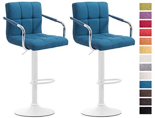 CLP Set De 2 Taburetes Lucy V2 En Tela I 2 Sillas De Bar Regulables En Altura I 2 Taburetes Altos con Reposabrazos & Reposapiés I Color: Azul, Blanco