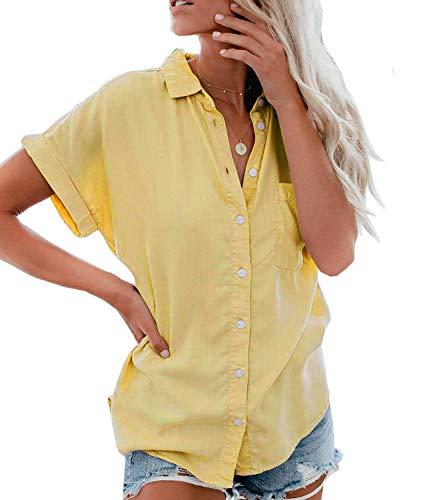 Minetom Damen Bluse Sommer Shirt Kurzarm Hemd Tops Oberteile Frauen Hemdbluse Elegant T-Shirt Baumwolle Lässige Mode Button V-Ausschnitt Einfarbig Gelb DE 42