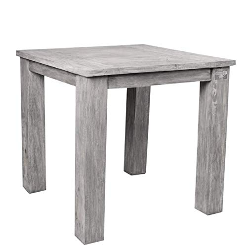STRANDGUT07 Tisch ca. 75 x 75 x 75 cm Teakholz Gartentisch, grey wash