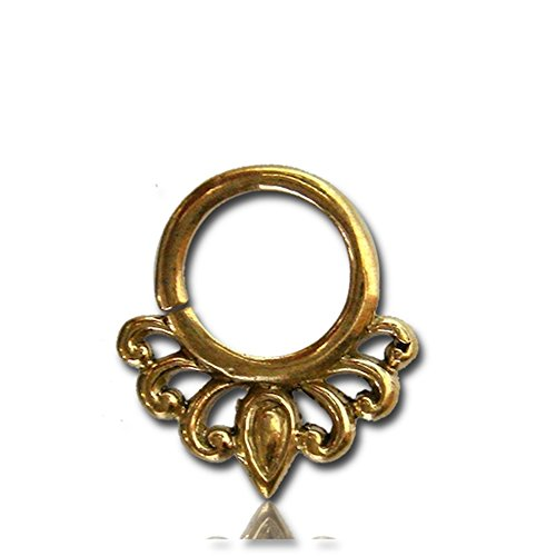 Chic-Net Septum Piercing Nasenringe Halbbögen Tropfen 1 mm Messing goldfarben nickelfrei antik exotisch Ohrring