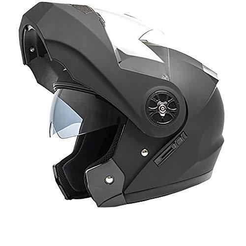 YXDDG Casque de Moto Moto Moto Sport Double Casque Face Ouverte Casque visière avec Double visières pour Adulte-Noir M
