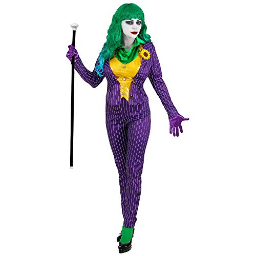 Widmann 08033 08033-Kostüm Evil Clown, Set bestehend aus Jacke mit Bluse, Weste, Hose und Handschuhe, mehrfarbig, Verkleidung, Halloween, Karneval, Bösewicht, Psychopat, Serienkiller, Damen, L