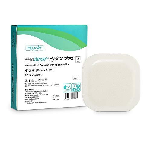MedVance TM Hydrocolloid – vendaje adhesivo hidrocoloide con cojín de espuma de 4 x 4 pulgadas, caja de 5 apósitos
