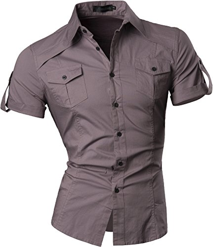 Jeansian Homme Chemises Casual Manche Courte Shirt Tops Mode Men Slim Fit 8360 Gray L