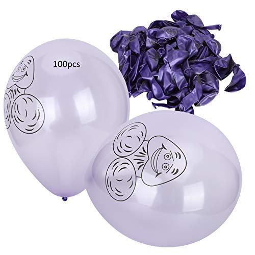 100 piezas de globos de látex para fiesta, estampado púrpura, patrón de cabeza de fantasma, cumpleaños, boda, Navidad, vacaciones, decoración