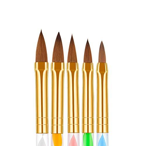 Ealicere 5 Stücke Nagelpinsel Pinselset,AcrylnägelManiküre-Werkzeug, UV Gel Pinsel und Acrylfingernägel Nailart Maniküre Nagelzubehör