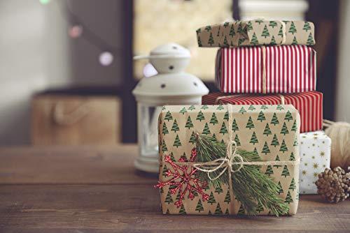 VERDE Recycled Kerstmis Geschenkverpakking Papier Recyclebaar Eco Biologisch Afbreekbaar Bruin Wrap Xmas Geschenken | Premium Set 12 Kraft Sheets 80GSM |