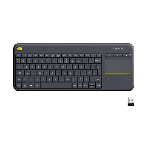 Logitech K400 Plus Tastiera Wireless per TV, PC, Home Theater‎, Tasti ‎Multimediali Personalizzabili, Windows, Android, Laptop/Tablet, Layout Italiano QWERTY, Nero