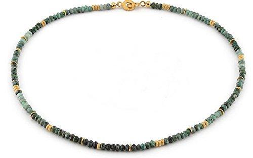 Smaragd Kette (Sterlingsilber 925, vergoldet) Smaragdkette Smaragdcollier