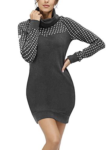 TrendiMax Sudadera con Capucha Larga Mujer Vestido Casual Invierno Otoño Hoody Pulóver Suéter Deporte Gris Oscuro L