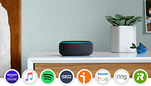 Echo Dot (3.ª generación) Reacondicionado Certificado - Altavoz inteligente con Alexa, tela de color antracita