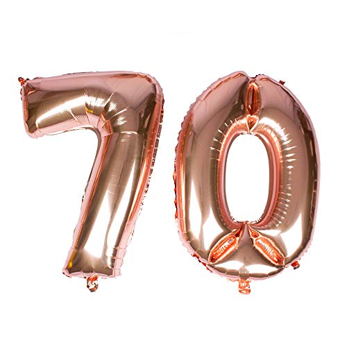 Gustawarm Giant Rose Gold Foil Number 70 Balloon 40''Mylar Foil Number Helium Balloons for 70th Birthday Decorations Annivesary Events Supplies-Helium-Floating