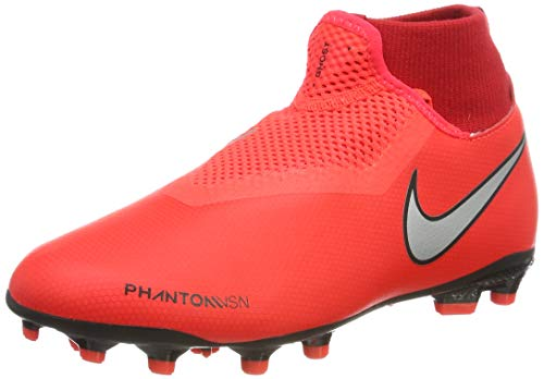 Nike Unisex-Kinder Phntom Vsn Academy DF FG/MG Fußballschuhe, Mehrfarbig (Bright Crimson/Metallic Silver 600), 34 EU