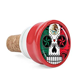 Mexico Flag Sugar Skull Wine Cork Wine Bottle Stoppers Ceramic Plug for Wine Lover Gifts Bar Kitchen Holiday Party Wedding - Keep Wine Fresh
