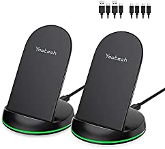 Yootech [2 Pack] Wireless Charger Qi-Certified 10W Max Wireless Charging Stand, Compatible with iPhone SE 2020/11/11 Pro/11 Pro Max/Xs MAX/XR/XS/X, Galaxy S20/Note 10/S10 Plus/S10E(With 4 USB C Cable)