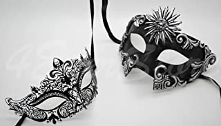 Roman Greek Black and Goddess Set - His & Hers Elegant Masquerade Masks [Antique Black Themed] - New Year's Eve, Mardi Gras Theater