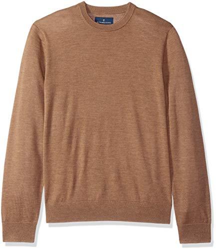 BUTTONED DOWN Men's Italian Merino Wool Lightweight Cashwool Crewneck Sweater, Brown Heather, Large