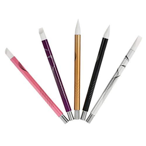 QQWA 5Pcs Nail Art Pen Nagel Silikonbürsten Nail Art Tools Gel Nail Art Carving Zeichenbürsten Bildhauerwerkzeuge