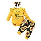 Neugeborenes Mädchen Baumwolle Langarm Body Romper Overalls +Hosen+Stirnband 3tlg Herbst Winter Kleidung Outfit Set Nachtwäsche Pyjamas Casual Babyset für 0-18 Monate Gelb+Blume 3-6 Monate