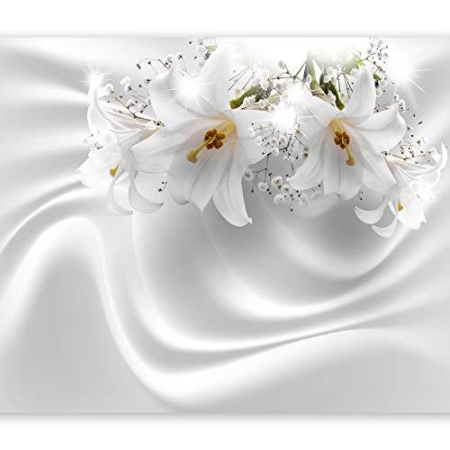 murando Fototapete Blumen Lilien 350x256 cm Vlies Tapeten Wandtapete XXL Moderne Wanddeko Design Wand Dekoration Wohnzimmer Schlafzimmer Büro Flur Blume Abstrakt weiß 3D Optisch Illusion b-C-0158-a-a