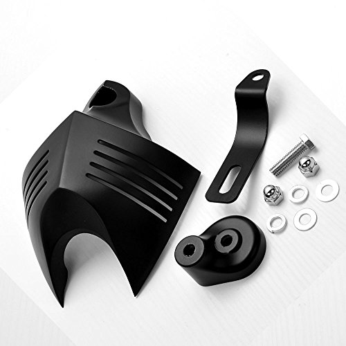 Black Aluminum Twin Horn Cover V-Shield Cowbell + Mounting Kit For Harley Custom Motorcycle