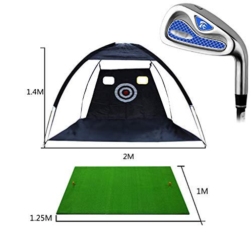 ZSH Golf Practice Net/gymnastiekmat, beweegbaar, lichtgewicht binnen, opvouwbaar, 2 m x 1,4 m, golfspelen, cage, oefennet, coach training, hulpmat met handtas