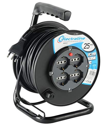Electraline 49027 prolunga elettrica con avvolgicavo 25 mt 4 prese polivalenti (schuko + 10/16A) spina grande 16A, con protezione, nero - sezione cavo 3G1,5 mm²