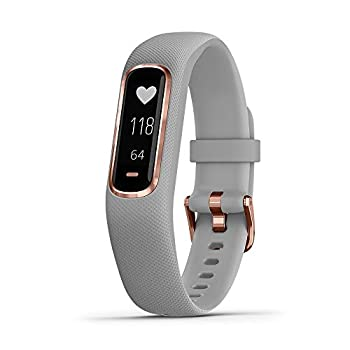 Garmin vivosmart 4 Activity and Fitness Tracker w/ Pulse Ox and Heart Rate Monitor Rose Gold with Gray Band