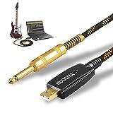 NUOSIYA Câble de guitare USB vers 6,35 mm, câble de guitare basse vers PC USB, adaptateur convertisseur interface de connexion, câble d'enregistrement jack d'ordinateur – 3 m (6,35 TS vers USB)