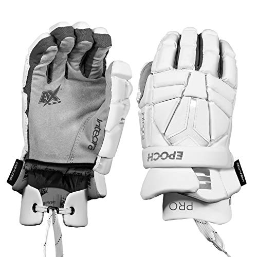 """Epoch Elite Integra Pro Lacrosse Gloves with Dual-Density Foam and Adjustable Wrist, 10"""", Small, White"""