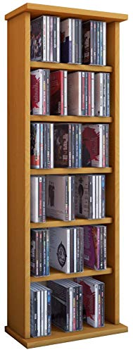 VCM Vostan-Torre para CD/DVD, para 150 CDs, sin Puerta de Cristal, Color Haya, Haya, Haya